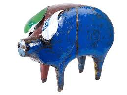 barnyard pig metal garden ornaments