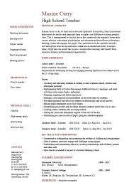 Teaching Resume Template Cool High School Teacher Resume Template Example Sample Teaching