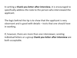 Thank you letter after interview
