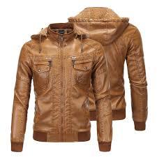 details about mens fur lined leather sheepskin jacket hooded winter warm coat overcoat parka