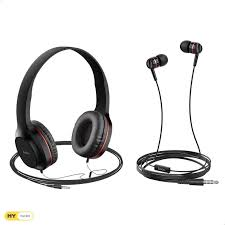 <b>Hoco W24 Enlighten Headphones</b> with Mic- 2 Pieces - Red