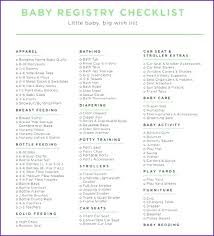 Baby Shower Registry Checklist Free Excel Documents Template Inserts ...