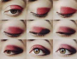 for this you will need your red and black eye shadow first take some red paint your eyes with the brush leave out the area near the corner