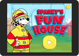 sparky the fire dog. help sparky the fire dog® practice his home escape plan before going to carnival! when you hear beep, beep of a smoke alarm, dog t