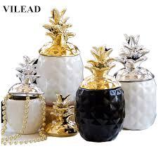 <b>VILEAD</b> 15.5cm 20.5cm <b>Ceramic</b> Pineapple Figurines Black White ...