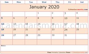 2020 Calendar Editable January 2020 Editable Calendar