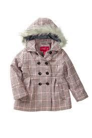 image of london fog houndstooth faux fur trim faux wool peacoat little girls