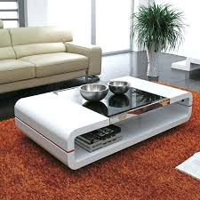 design modern high gloss white coffee table with black glass top swivel