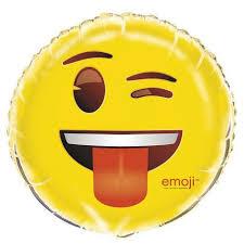 Emoji Wink Smiley Face Foil Balloon Emoji Party Supplies Who