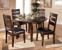 5 piece teak modern dining room furniture sets and furniture ping with round dining room table and leather chain cushions