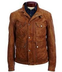 murano lambskin leather field coat camel men coats jackets
