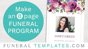 How To Make A Funeral Program Make An 8 Page Funeral Program Template Funeral Templates