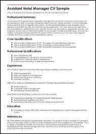 Management Cv Template Assistant Hotel Manager Cv Sample Myperfectcv