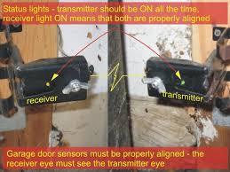 garage door sensors alignment and status lights