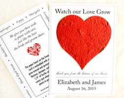 plantable paper wedding favors flower herb seed by recycledideas Seed Cards Wedding Favors 100 watch our love grow seed wedding favors flower seed paper heart thank you plantable seed cards wedding favors