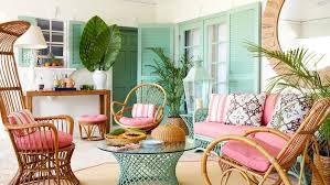 coastal design furniture. Lindroth Enlivened The Bamboo And Rattan Porch Furniture That Came With House By Painting Coastal Design