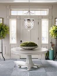 Like the door, pendant light and round table for an entry