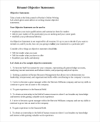 Resumes With Objectives Sample Resume Objective 8 Examples In Pdf Doc