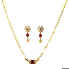 22ct indian gold ruby necklace set 1