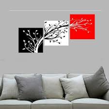 3pcs framed wall art black white red