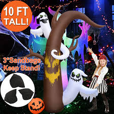 Outdoor Light Up Halloween Tree Amenon 10 Feet Halloween Inflatables Dead Tree With Ghost Pumpkin Inflatable Blow Up Outdoor Halloween Decorations Built In Led Lights With Tethers