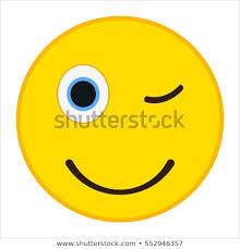 Wink Emoticon Happy Smile Trendy Flat Stock Vector Royalty Free