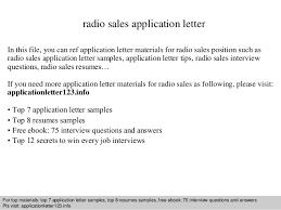 Cover Letter For Sales Resume Best of Radio Sales Application Letter