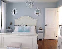 Inspiration for a contemporary guest bedroom remodel in Toronto with blue  walls and medium tone hardwood