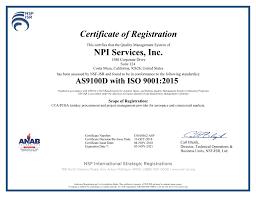 Npi Services Npi Quality Certificates Npi Services
