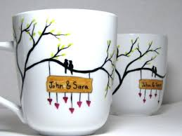 Mug Design Ideas Painted Mugs Birds Surrounded By Love Personalized Set Of 2