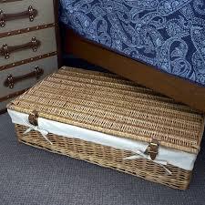 Lined Wicker Under Bed Storage Basket