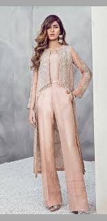 Pakistani Designer Pants Layered Palazzo Pants With High Low Slip On Jacket Fashion
