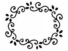 くるくるした蔦の白黒フレーム飾り枠イラスト 無料イラスト かわいい