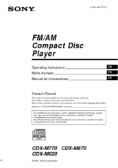 sony cdx m620 fm am compact disc player manuals