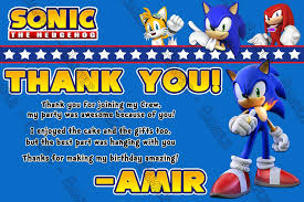Choose your character from sonic and his friends, then race through levels built by laying out random cards. Novel Concept Designs Sonic The Hedgehog Game Birthday Party Thank You Card