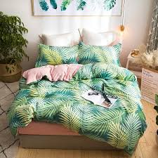 leaf print cute bedding set queen size double bed set bed cover soft bedsheets duvet quilt cover set pillowcase polyester fabric duvet comforter sets