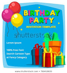 Birthday Party Invitation Card Template Free Vector Cartoon Birthday Party Invitation Card Stock Vector Royalty
