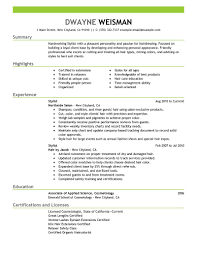 salon stylist resume