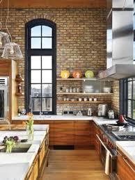 Contemporary kitchen with brick wall Gray brick wall design