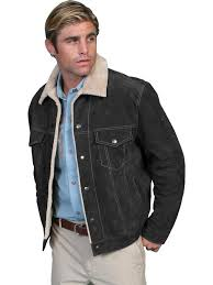 scully men s leather jacket casual suede denim style w faux fur black