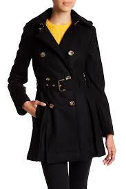image of michael michael kors fit flare wool blend military coat petite