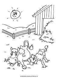 Kleurplaat Koeien Weide Grazen Dieren