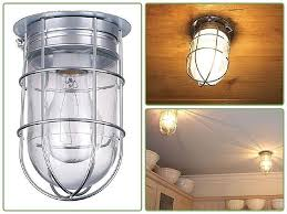 cage light fixture clear glass mount ceiling wall rugged brushed pewter out lamp