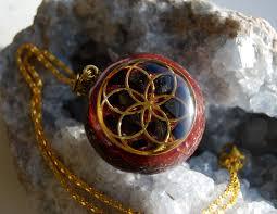 seed of life orgonite pendant with shungite and black tourmaline unique protection balance harmony