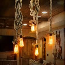 vintage pendant light rope hanging lamp for kitchen dining room diy decorative pendant hand knitted hemp rope light fixtures in pendant lights from lights