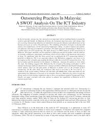 Example Swot Analysis Paper Outsourcing Practices In Malaysia A SWOT PDF Download Available 4