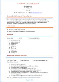 Cv Cleaner Cleaner Cv Template Tips And Download Cv Plaza