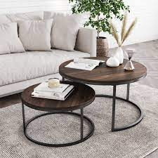Mango wood coffee table dark brown wood cocktail table handmade round coffee table home decor table indian handcrafted art wood drink table. Stella Round Nesting Or Stacking Coffee Table Set Of 2 Wood Finish Metal Frame Warm Nutmeg Black Nathan James
