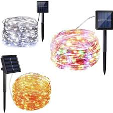 Solar Led Copper Wire Lights Solar Powered Led Copper Wire Light String Fairy Xmas Outdoor Garden Party Decor Ebay