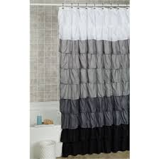prodigious grey fabric ruffled shower curtains on hook along with throughoutmeasurements x black shower curtain then